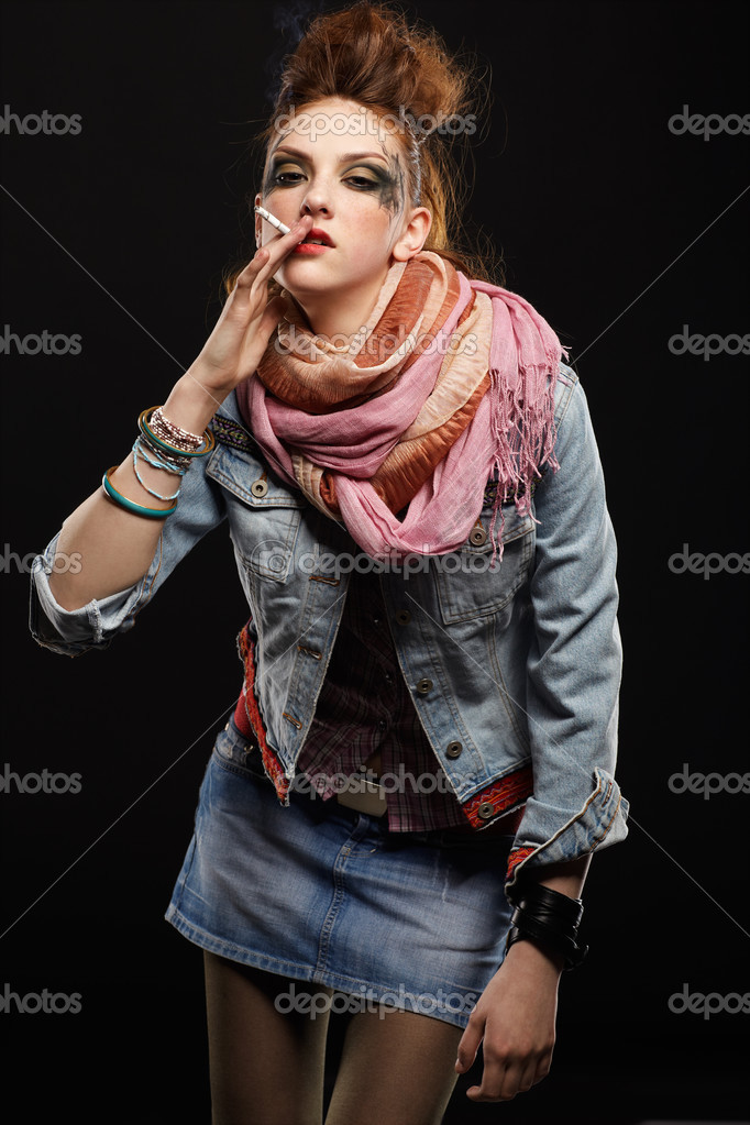 Portrait of glam punk redhead girl smoking cigarette — Stock Photo #4325182