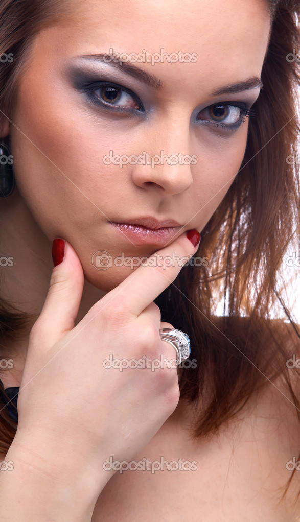 Close-up portrait of beautiful model thinking of something — Foto Stock #4328874