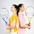 Girls tennis players — Stock Photo