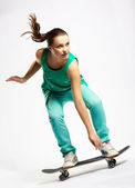 Skateboarder girl — Stock Photo
