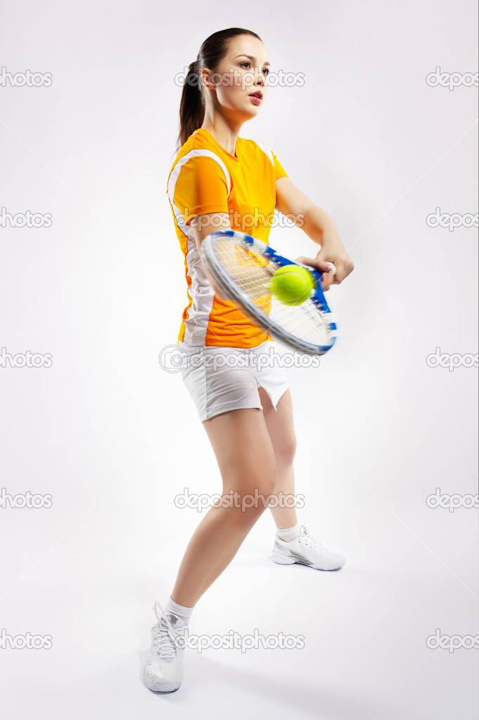 Portrait of sporty girl tennis player with racket — Stock Photo #4484322