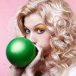 Blonde girl with balloon — Stock Photo #4583966