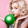 Blonde girl with balloon - Stock Photo