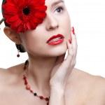 Girl with gerbera flower — Stock Photo #4923170