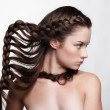 Girl with creative hair-do — Stock Photo