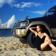 Girl and off-road car - Foto de Stock