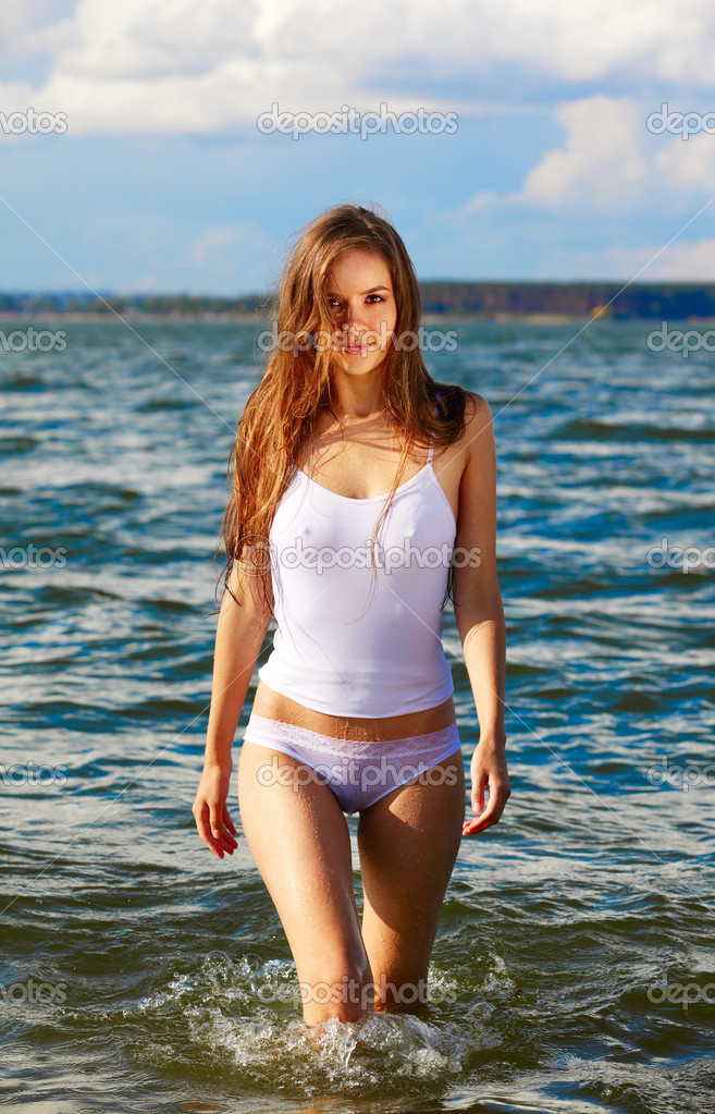 Wet Underage Girls Hot Summer Girl Stock Photo 169