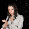 Wet girl in rain — Stock Photo