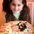 Stock Photo: Pretty girl propose pizza