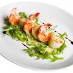 Shrimp with greens — Stock Photo