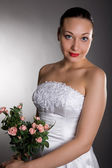 Bride with rose — Stock Photo