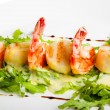 Shrimp with greens — Stock Photo