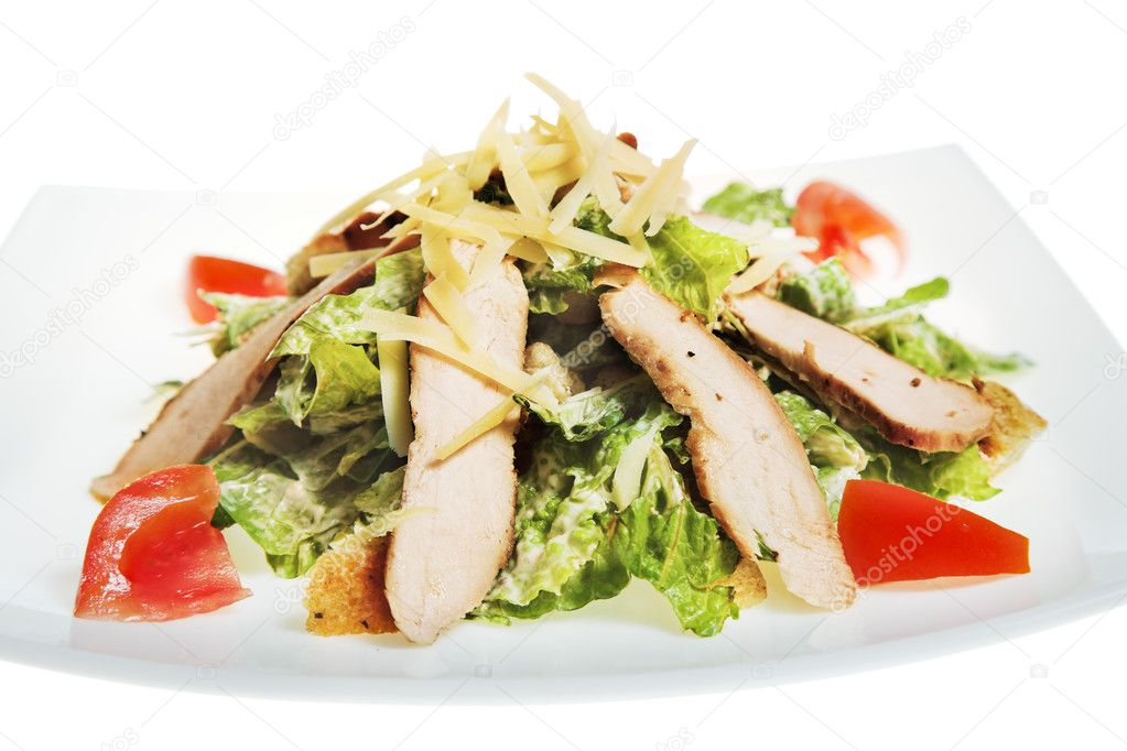 Fresh caesar salad on white plate — Stock Photo #3196684
