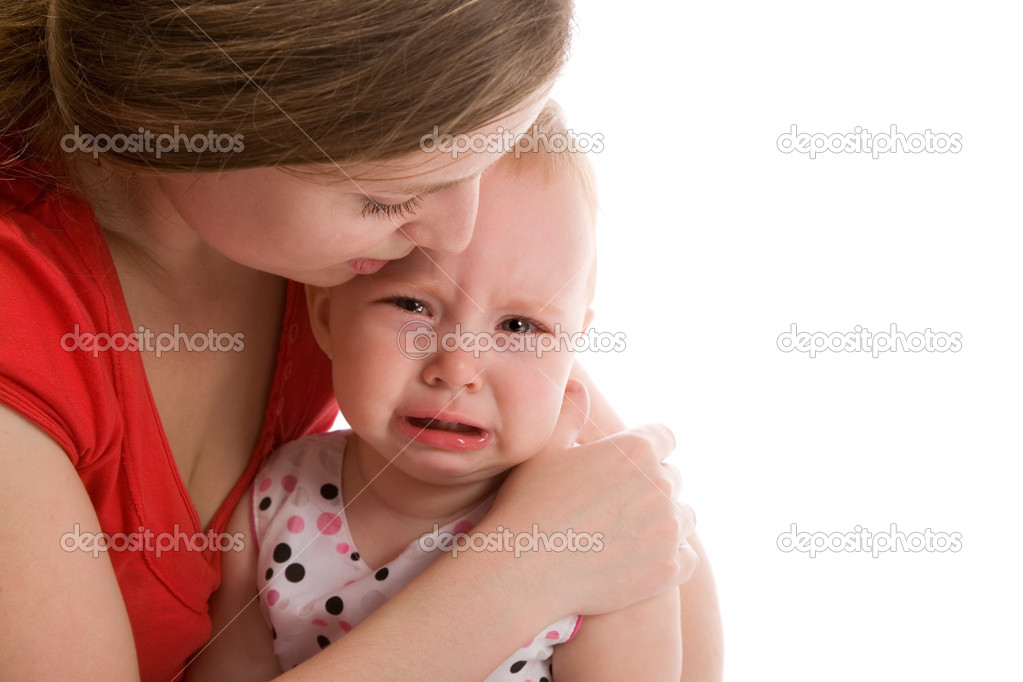 Upset baby isolated on the white background  Stock Photo #3793011