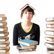 The girl reads books — Stock Photo
