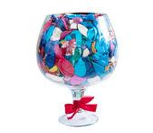 Het grote glas met bollen — Stockfoto