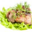Stock Photo: Meat with greens