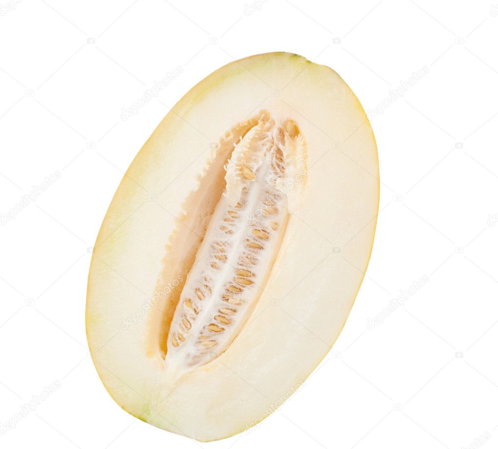 Juicy, ripe melon on a white background  Stock Photo #3683796