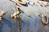 Roestige oude bathyscaaf met windows als achtergrond — Stockfoto
