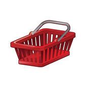 Red Shopping Basket - vector illustation — Stock Vector