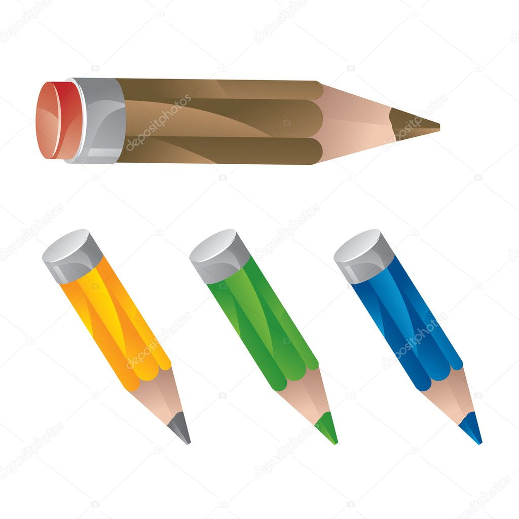Set of pencil icon in different colors - vector illustration — Stock Vector #2855003