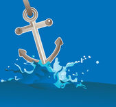 Anchor in water - vector illustration — Stock Vector