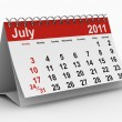 Stock Photo: 2011 year calendar. July