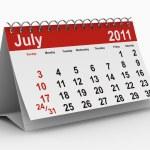 2011 year calendar. July — Stock Photo