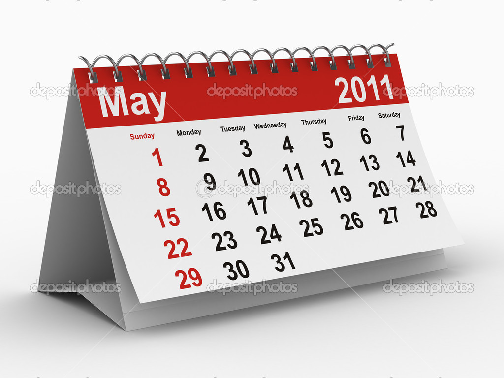 2011 year calendar. May. Isolated 3D image — Stock Photo #2718395