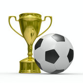 Gold cup winner with soccer ball — Stock Photo