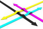 Colour arrows on white background. CMYK — Stock Photo