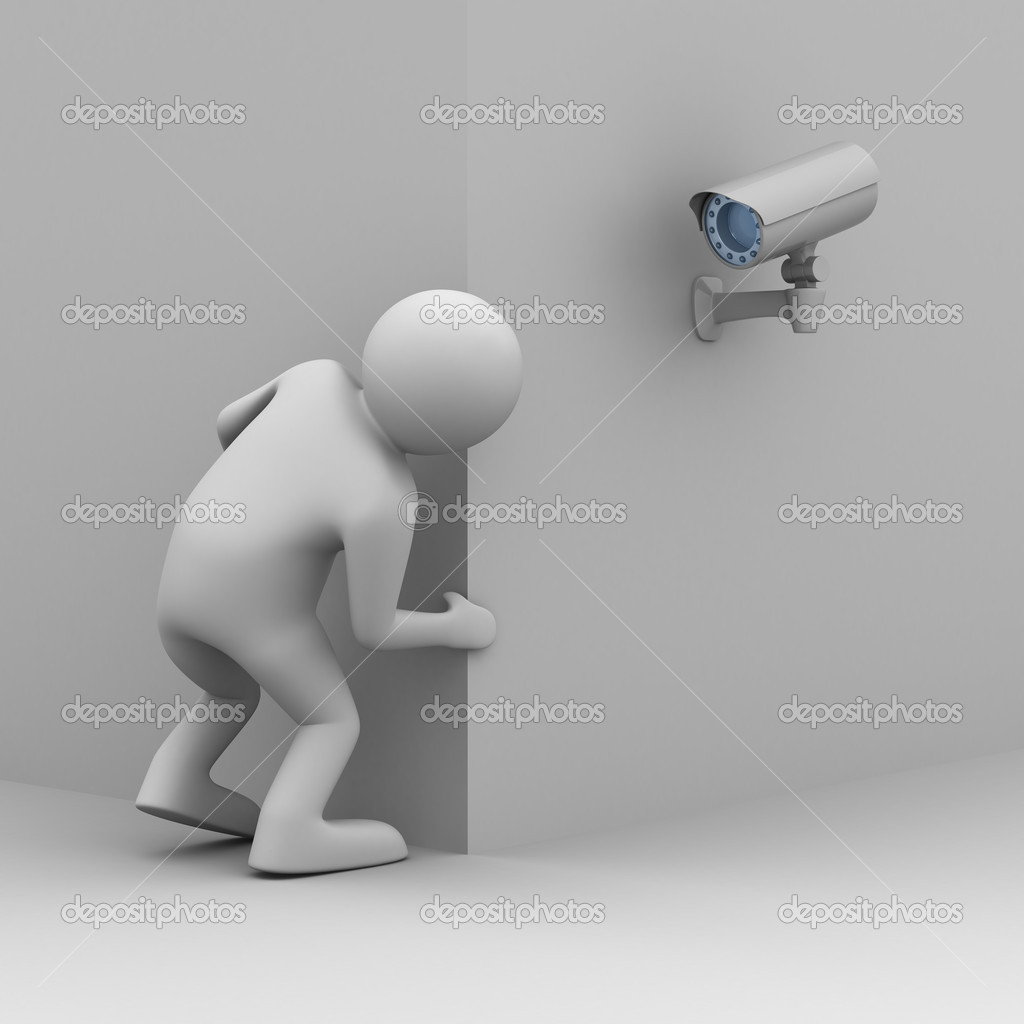 Person looks out of corner. 3D image  Stock Photo #2889028