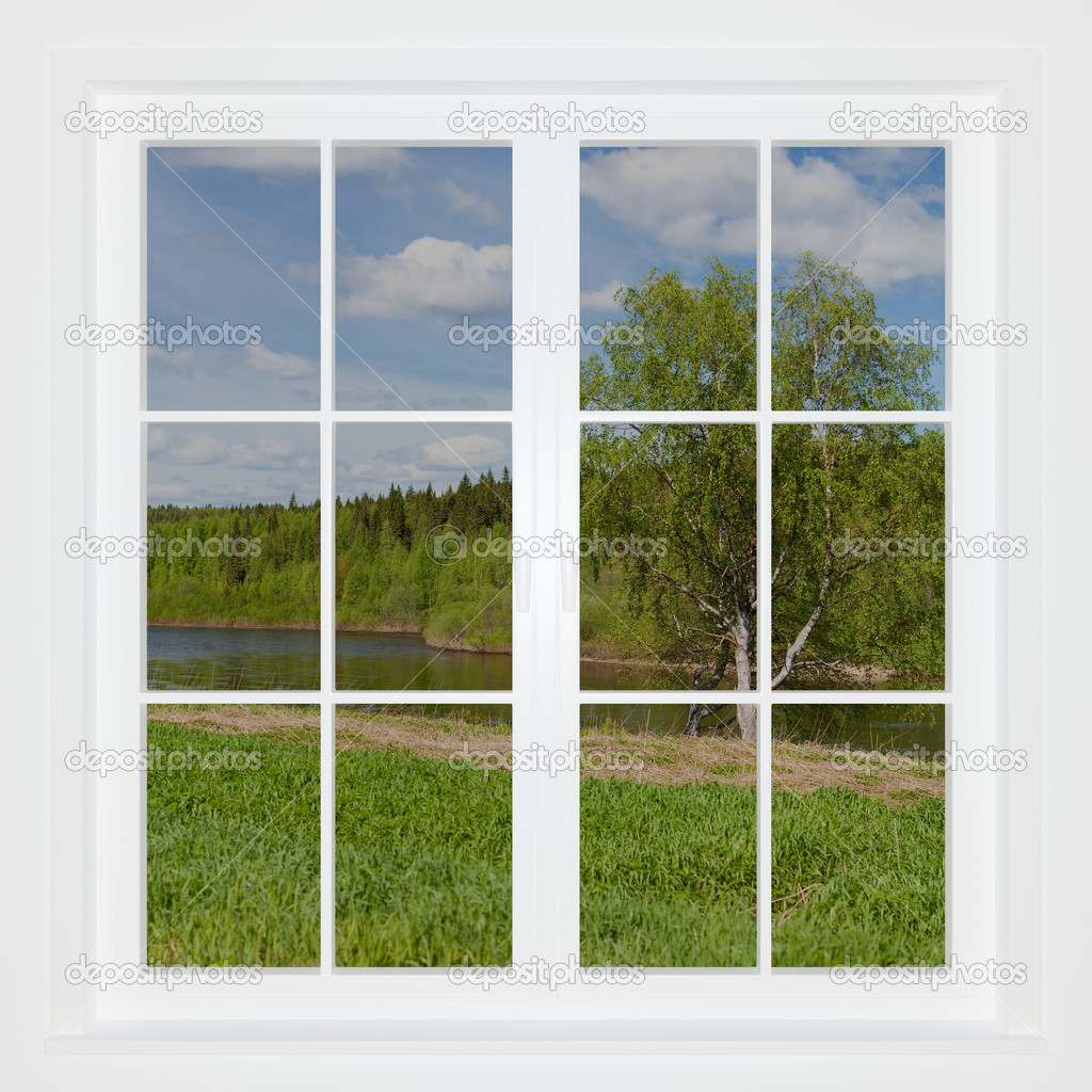 Summer landscape behind a window. 3D image  Stock Photo #2904747