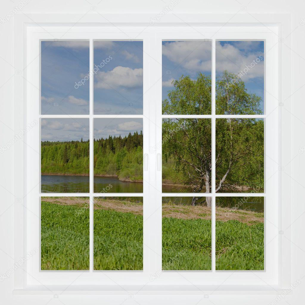 summer landscape behind a window stock photo isergey