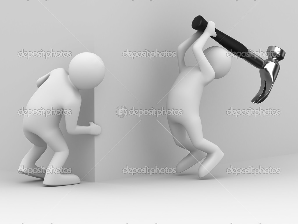 Attack gangster because of corner. 3D image — Stock Photo #2904750