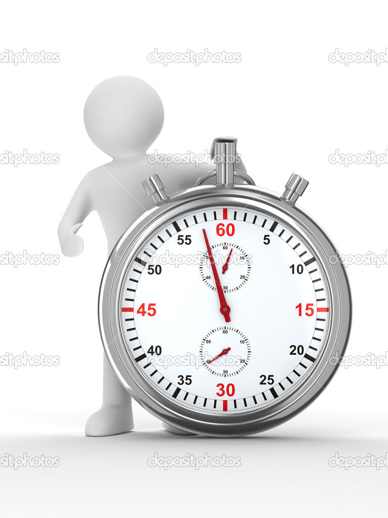 Stopwatch and man on white background. Isolated 3D image  Foto Stock #2966813