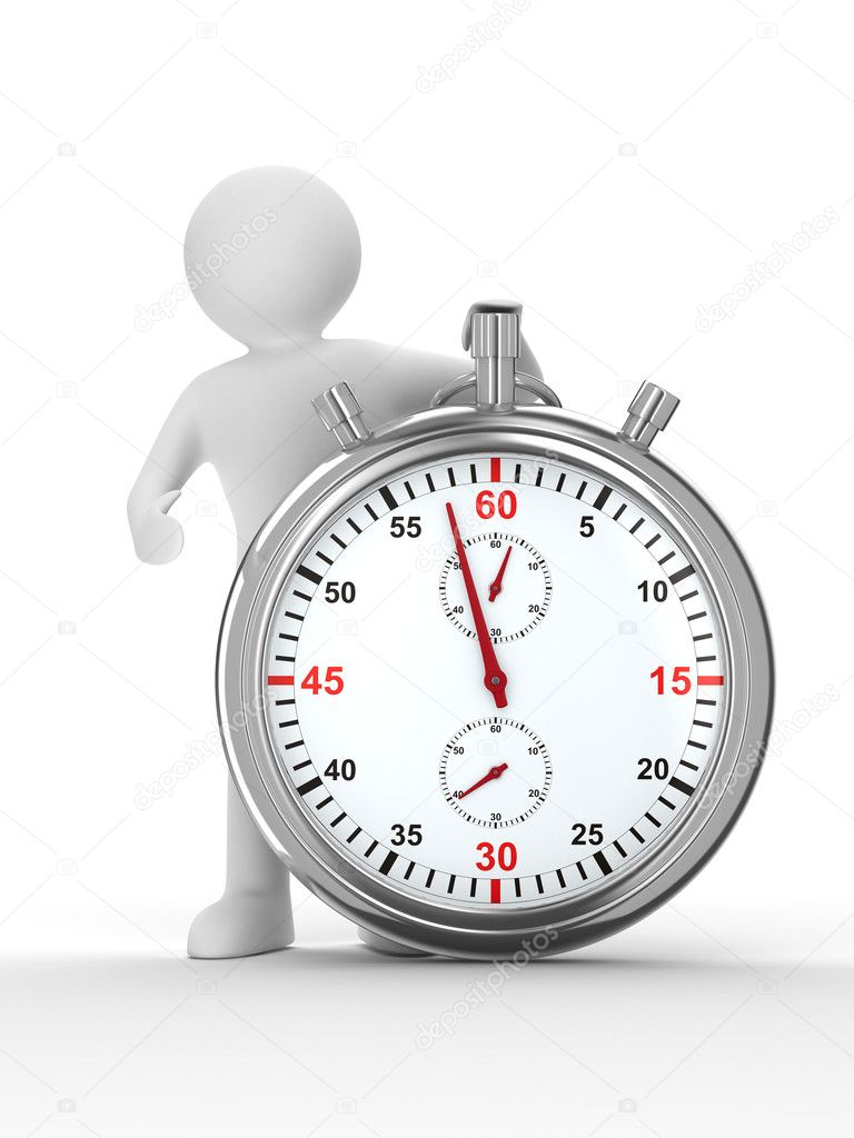 Stopwatch and man on white background. Isolated 3D image — Zdjęcie stockowe #2966813