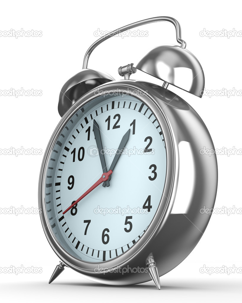 Alarm clock on white background. Isolated 3D image — Foto Stock #3022355