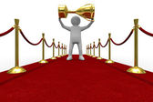 Red carpet on white background — Stock Photo
