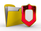Yellow computer folder with shield — Stock Photo