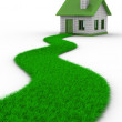 Road to house from grass. Isolated 3D image — Stock Photo #3476906