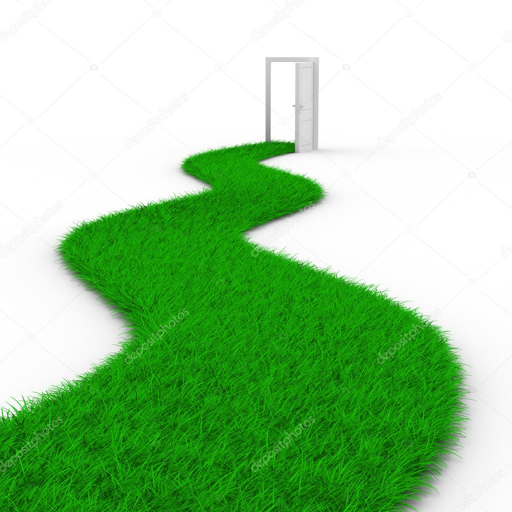 Road to door from grass. Isolated 3D image — Stock Photo #3514108