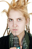 Girl with a drill in nose — Stock Photo