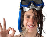 Teenager diver showing ok — Stock Photo