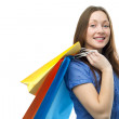 Beauty shopping woman with clored bags — Stock Photo #3163495