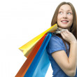 Beauty shopping woman with clored bags — Stock Photo #3163501