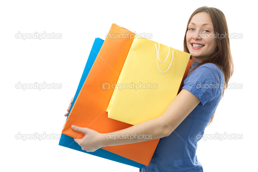 Beauty shopping woman with clored bags on white background — Stock Photo #3163512