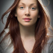 Beauty redhaired woman closeup portrait — Stock Photo
