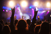 Cheering crowd at concert — Stock Photo
