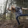 Fashion in forest — Stock Photo